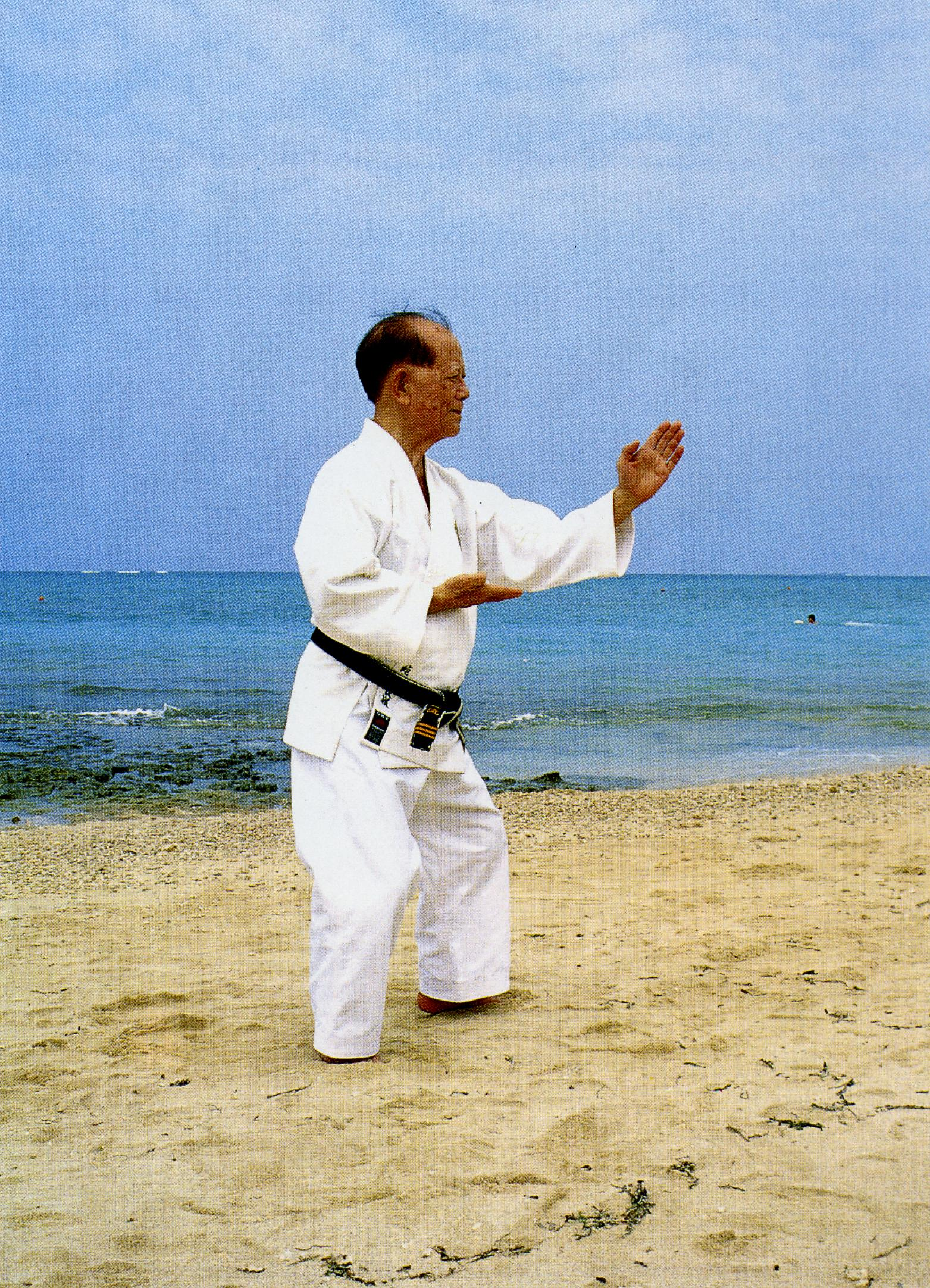 Grand Master Nagamine performing neko-ashi dachi, chudan shoto shuto-uke on the beach