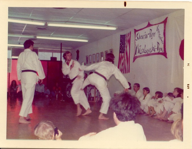 Carol Scofield (back to camera) sparring with ________ - Mar 74