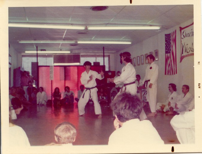 Willaim Patterson (facing) sparring with Carol Scofield - Mar 74