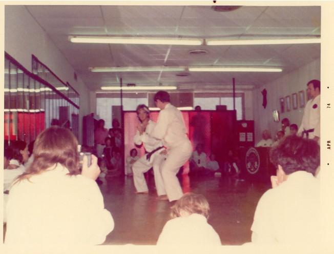 Joe Schacht (facing) sparring with Wesley Golden - Mar 74