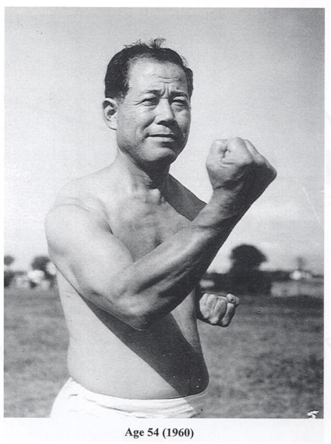 Osensei demonstrating chudan-uke
