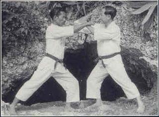 Osensei in an Outdoor Kumite Exercise