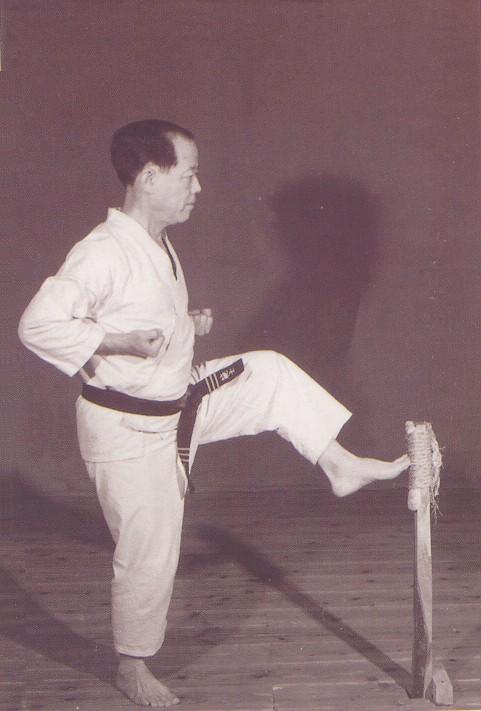 Grand Master Nagamine kicking makiwara