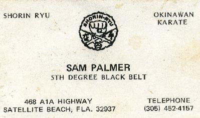Renshi Palmer's business card circa 1974